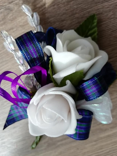 White Rose Corsage or Flower Spray - Tartan Ribbon, Pearls, Bead Spray