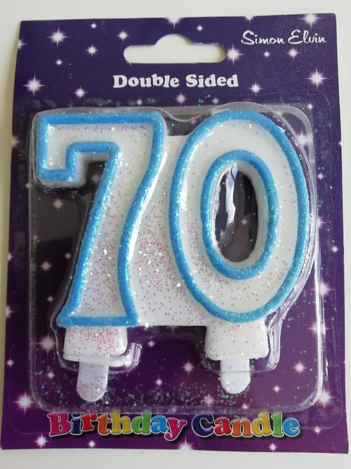 70 Candle - White and blue glittered candle.