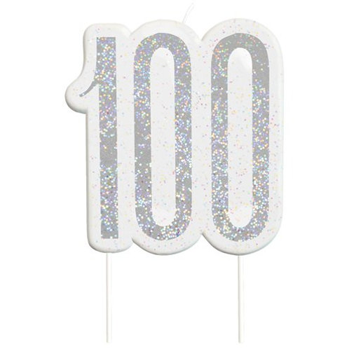 100 Candle -  Silver Glitter Number Candle