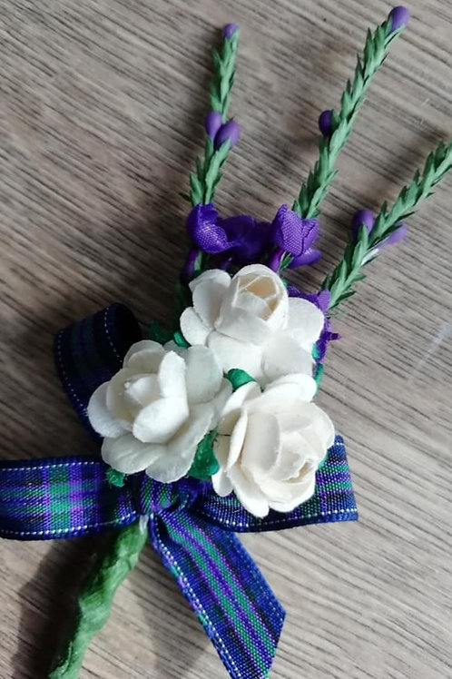 Heather Spray with Three White / Ivory Flowers and a Tartan Bow