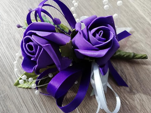 Purple  Rose Corsage / Flower Spray, White Ribbon and Pearls
