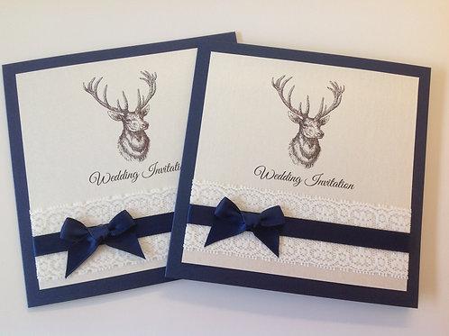 Vintage Stag Wedding Invitation - Set of 5