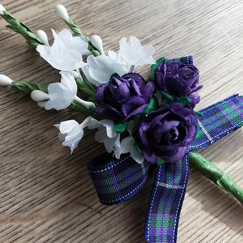 White Heather Spray with Three Purple Flowers and a Tartan Bow