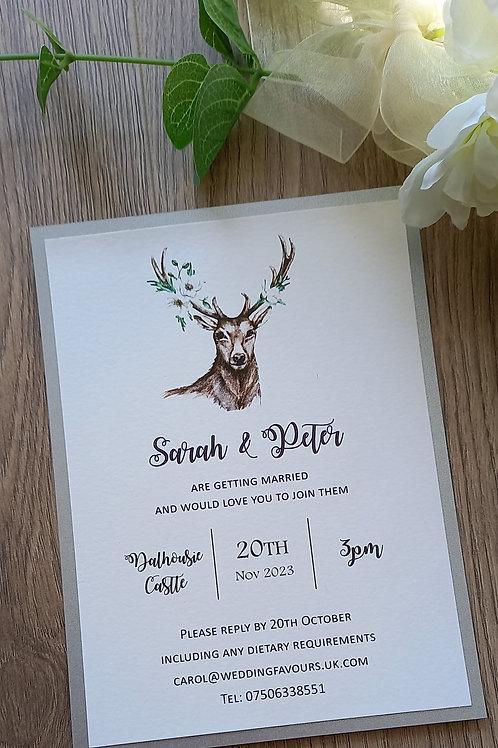 Stags Head Wedding Invitation - INV2608215 -  Minimum Order 10