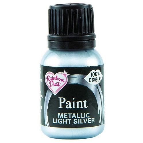 Rainbow Dust Metallic Food Paint - Light Silver - 25ml