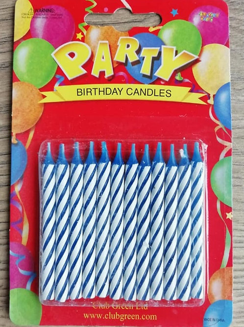 Blue Birthday Cake Candles - Pack of 12