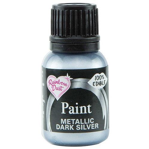 Rainbow Dust Metallic Food Paint - Dark Silver - 25ml