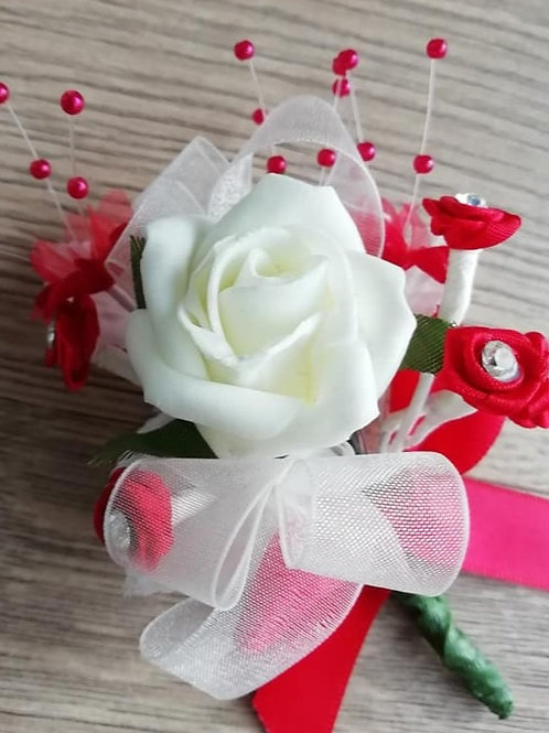 Ivory and Red Corsage / Flower Spray with Diamantes