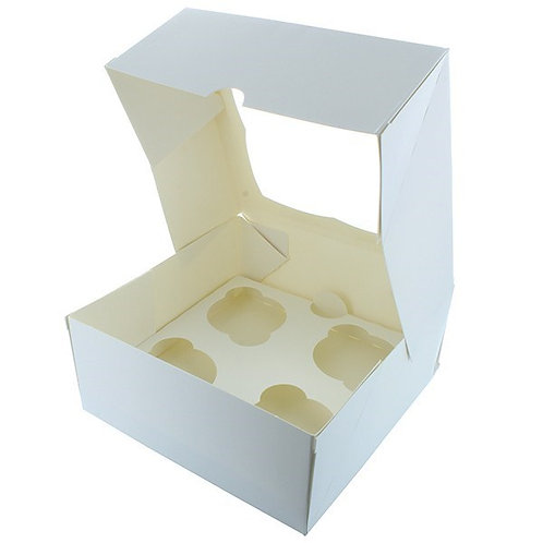 4 Hole Window Cupcake Boxes - 1, 5, 10, 25's