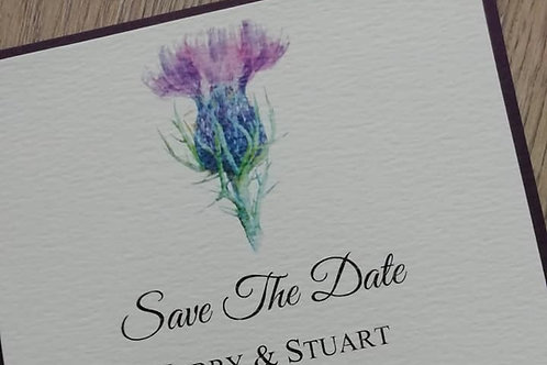Thistle Save The Date Card - SAVE26042108 - Minimum Order 10 Cards