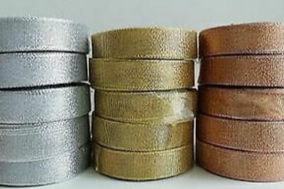 Lurex Ribbon - 20mm x 15 Meter Roll - Silver, Gold, Rose Gold