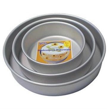 "Round PME Cake Tins - 3"" High - Seamless, Sharp Corners, Easy Bake"