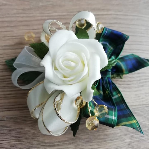 Corsage / Flower Spray with Beads and a Tartan Bow