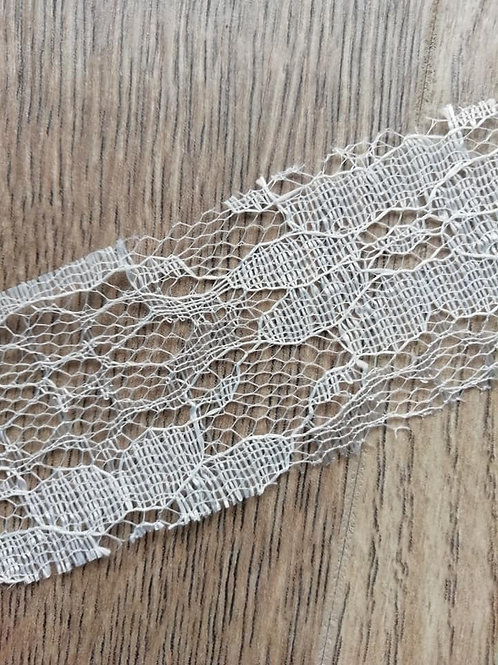 Cut Edged Ivory Nylon Floral  Lace - 35mm  x 1 Meter