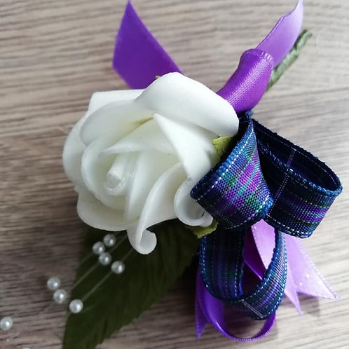 White Rose Corsage or Flower Spray - Leaves, Tartan Ribbon, Pearls