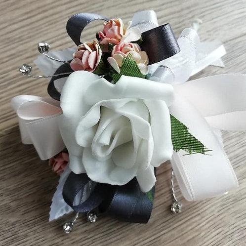 White Corsage / Flower Spray, Pale Peach, Grey Ribbon and Diamantes