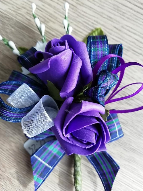 Purple Rose Corsage or Flower Spray - Tartan Ribbon, Pearls, Bead Spray