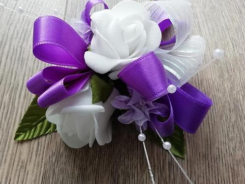 White Roses,  Flower Spray,  Wedding Corsage - White, Purple, Pearls