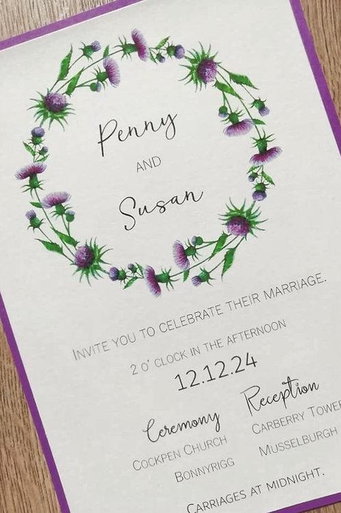 Thistle Wreath Wedding Invitation - INV2804211 -  Minimum Order 10