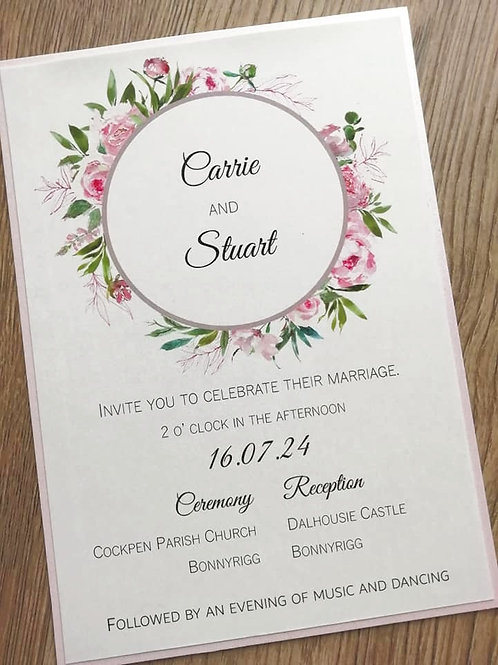 Floral Wreath Wedding Invitation - INV2704211 -  Minimum Order 10
