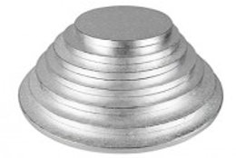 """12"""" Light & Strong Round Silver Cake Drum Boards - Pack Of 5"""