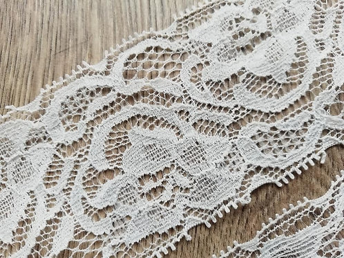Ivory Floral Scalloped Edge Stretch Lace - 1 Meter x 45mm