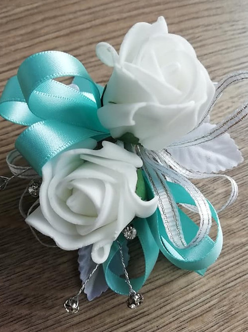 White and Blue Corsage / Flower Spray with Diamantes