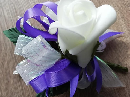 White Rose Corsage or Flower Spray - Leaves, Purple Ribbon, Beads