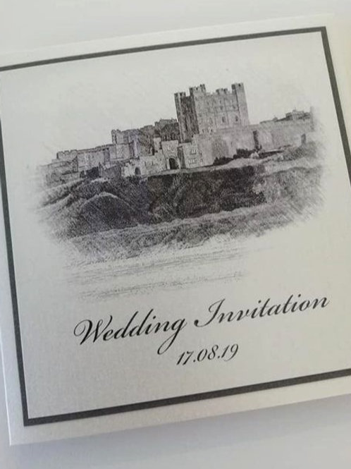 Bamburgh Wedding Invitation - Set of 5