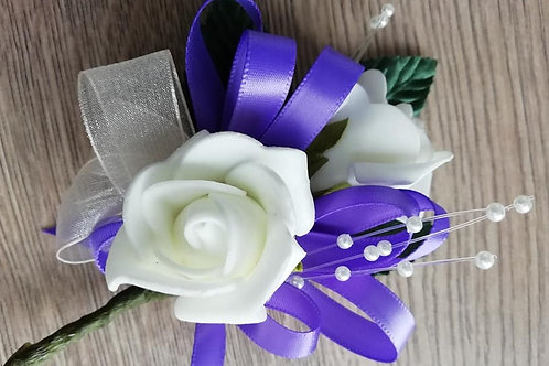 Ivory  Rose Corsage or Flower Spray - Leaves, Purple Ribbon, Pearls
