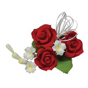 "Red Sugar Rose Spray Trio - 4"""