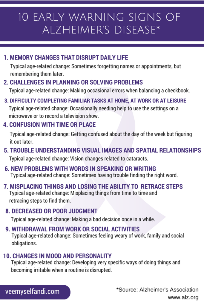 10 warning signs Alzheimer's