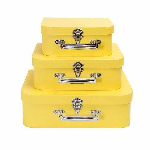 Trio de Maletas Papel Amarelo