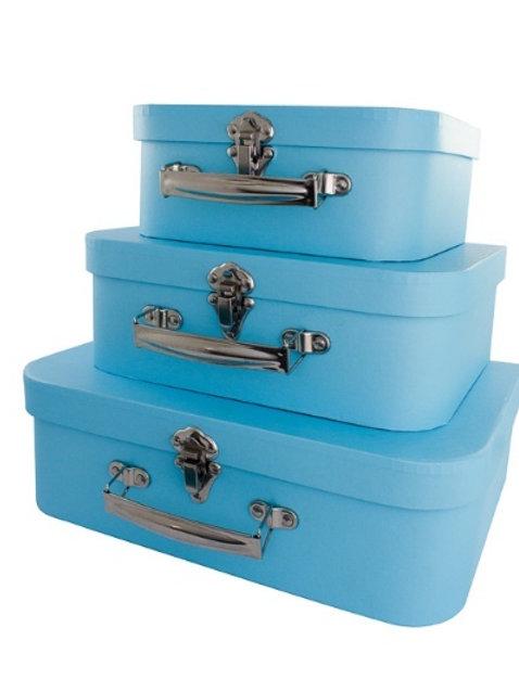 Trio de Maletas Papel Azul Claro