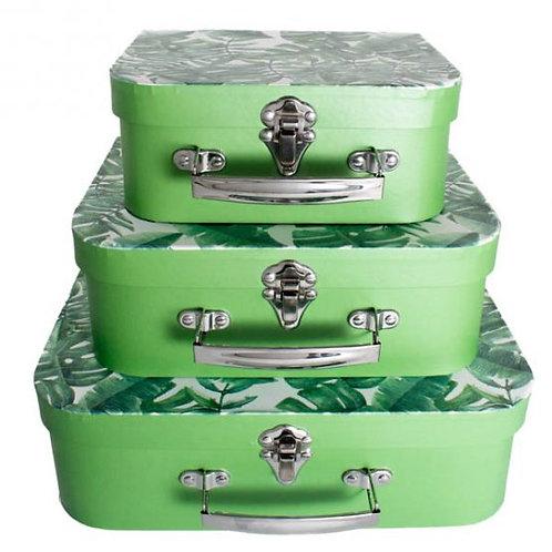 Trio de Maletas Papel Tropical Verde