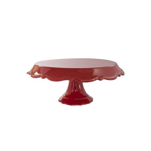 Prato Porcelana Rendado Vermelho M