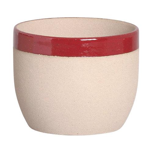 Cachepô Bowl Cimento Borda Marsala M