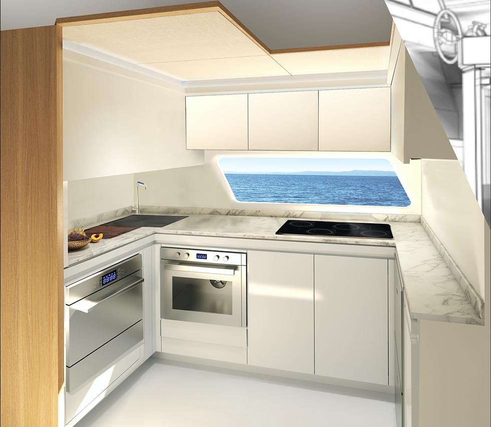 Intérieur standard avec cuisine au niveau inférieur