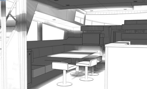 Intérieur à aire ouverte avec table à manger agrandie