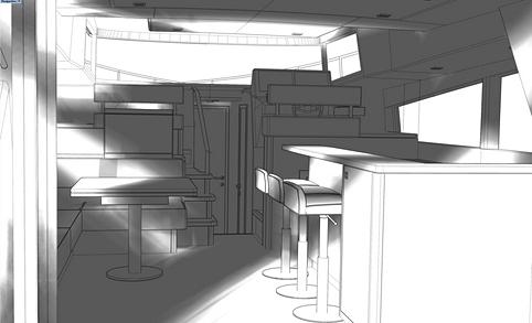 Option intérieure à aire ouverte avec espace de divertissement dans la cuisine