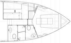 Design drawings of the forward accommodation area of the CMY161 interior