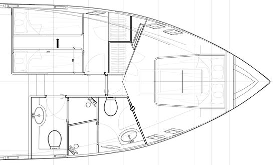 Design drawings of the forward accommodation areas of the CMY161 interior