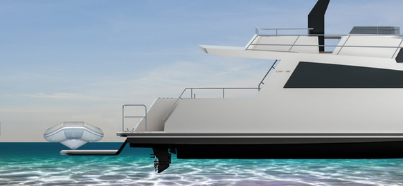 Tender platform lowers and doubles as a beach