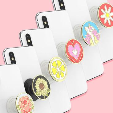 Enamel PopSocket PopGrips - Design and development for Enamel Blooming Peony, Here Comes the Sun, Lemon Slice, Love Shack, Mane Event Pink, and Pink Daisy