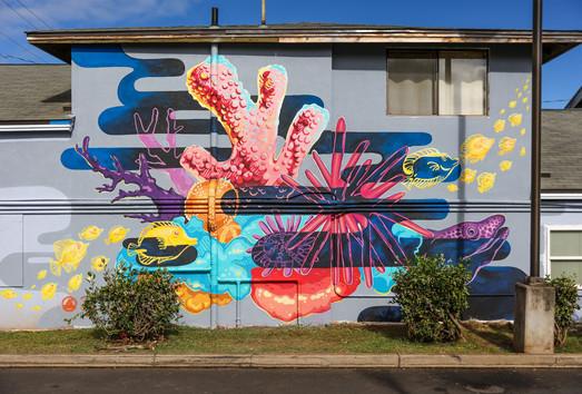 PangeaSeed's SeaWalls: Maui. In collaboration with Joey Rose Wailuku, Hawai'i 40' x 25'