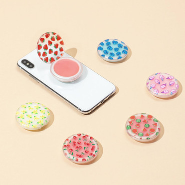 Original illustrations for PopSockets PopGrip Lips So Vanilla, Cherry Cherry, Blue Radberry, and 100% Cotton Candy