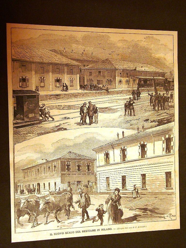 Lo scalo bestiame in una stampa dell'epoca