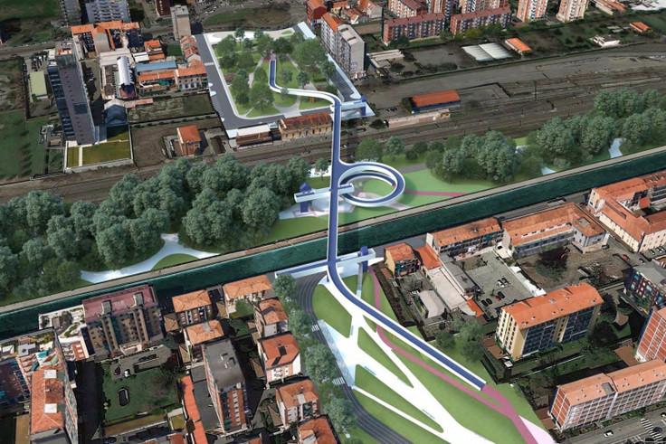Nuova passerella ciclopedonale M4 da Piazza Tirana (a nord) a scavalco del Naviglio Grande verso i quartieri Barona e Ronchetto sul Naviglio (a sud), al confine con il Comune di Corsico e Buccinasco