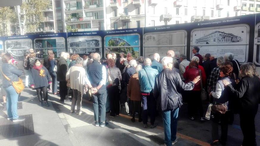 """I cittadini osservano la vestizione artistica delle """"cesate"""" nel  cantiere del Parco Solari"""