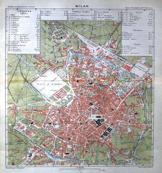 Mappa di Milano intorno al 1870